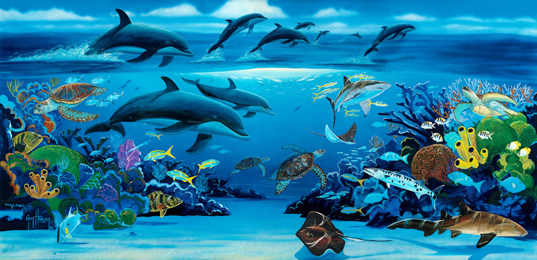 Ocean paradise for Dolphins paradise wall mural